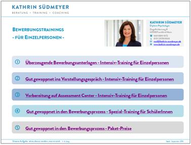 Kathrin Südmeyer - Bewerbungstrainings für Einzelpersonen